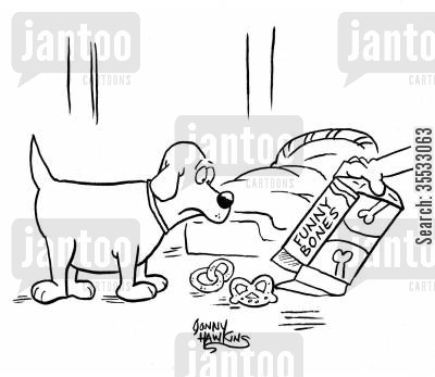 funny bone cartoon humor: Pet owner pours out contents of treats for dog that are oddly shaped. Box titled: 'Funny Bones'.