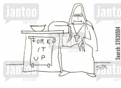 nun cartoon humor: Fork It Up.