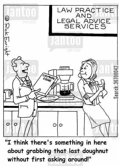 lunch breaks cartoon humor: 'I think there's something in here about grabbing that last doughnut without first asking around!'