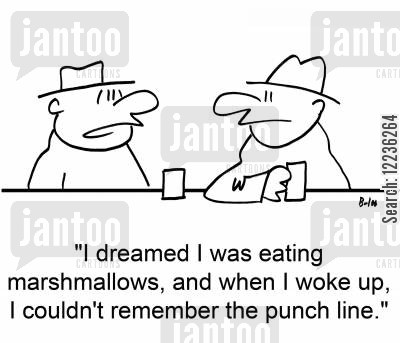 punclines cartoon humor: 'I dreamed I was eating marshmallows, and when I woke up, I couldn't remember the punch line.'