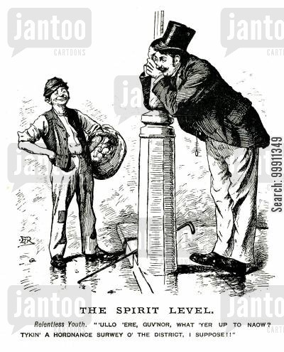 ordinance survey cartoon humor: Drunk leaning against lamp post with pocket watch hanging down