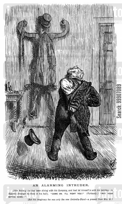 drunkenly cartoon humor: A drunk man attacking an umbrella stand