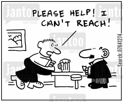 heavy drinkers cartoon humor: 'Help please. I can't reach.'