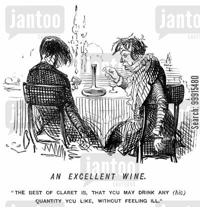 boozy cartoon humor: Two men drinking claret