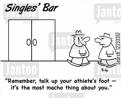 speed dating cartoon humor: 'Remember, talk up your athlete's foot -- it's the most macho thing about you.'