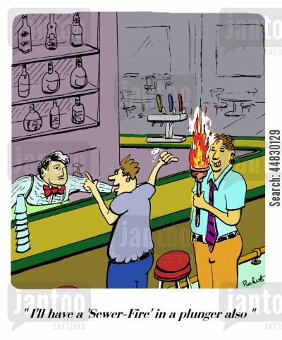 plungers cartoon humor: 'I'll have a 'sewer-fire' in a plunger also.'