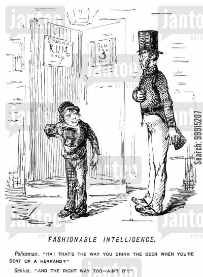 errand cartoon humor: Boy found drinking by a policeman