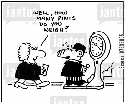 beer bellies cartoon humor: 'Well, how many pints do you weigh?'