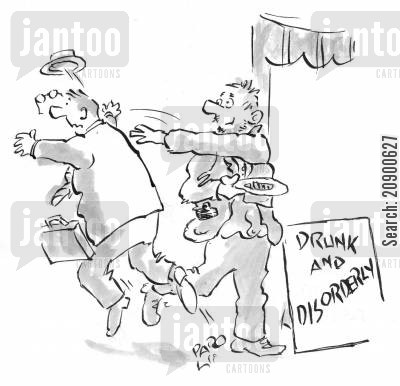 drunk and disorderly cartoon humor: Drunk and disorderly beggar.