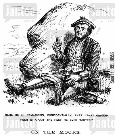 picnics cartoon humor: Drunken Man on the Moors