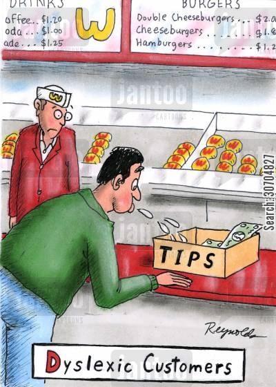 read backwards cartoon humor: Dyslexic Customers.