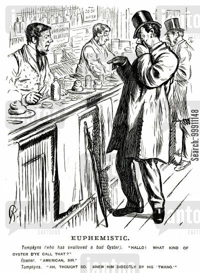 customer cartoon humor: Man eating a bad oyster