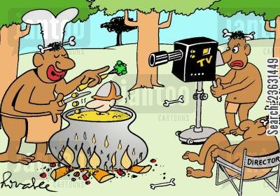 cooking show cartoon humor: Explorer meets the natives.