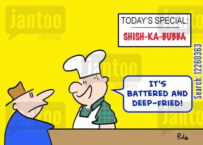 battered foods cartoon humor: 'It's battered and deep-fried.'