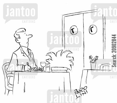freaky cartoon humor: Restaurant kitchen door staring at a customer.