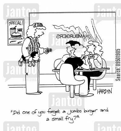 jumbo burgers cartoon humor: Did one of you forget a jumbo burger and a small fry?