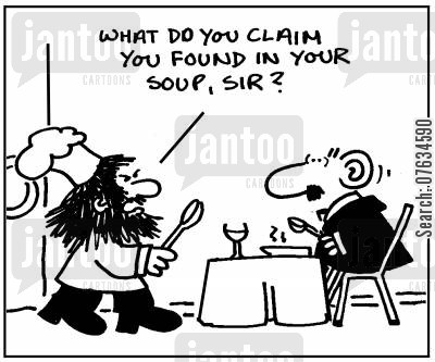 hair in my soup cartoon humor: What do you claim you found in your soup, sir?