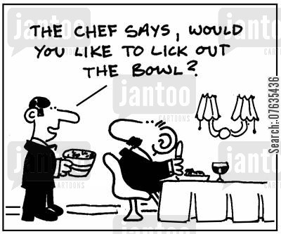 cake mix cartoon humor: Would you like to lick out the bowl?