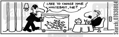 choosing fish cartoon humor:  'Choose your whitebait.'
