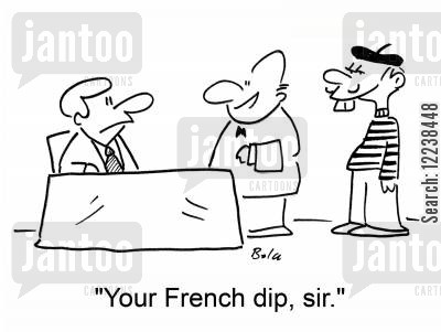 french dip cartoon humor: 'Your French dip, sir.'
