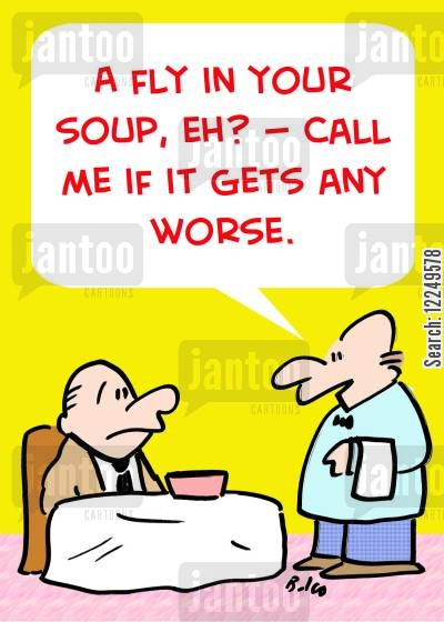 fly in soup cartoon humor: 'A fly in your soup, eh? -- Call me if it gets any worse.'