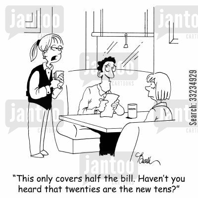 twenties cartoon humor: 'This only covers half the bill. Haven't you heard that twenties are the new tens?'