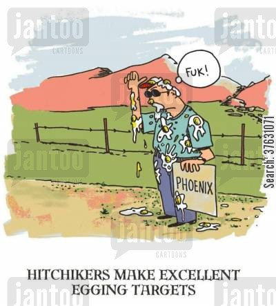 hitch cartoon humor: Hitchhikers Make Excellent Egging Targets,