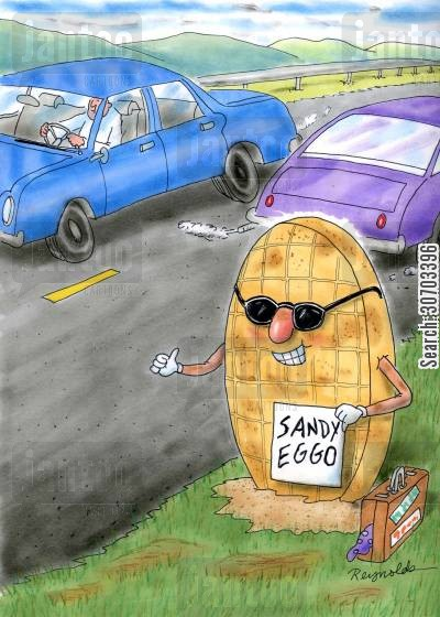 hitch cartoon humor: Sandy Eggo.