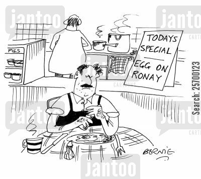 hungarian cartoon humor: 'Todays special - egg on Ronay'