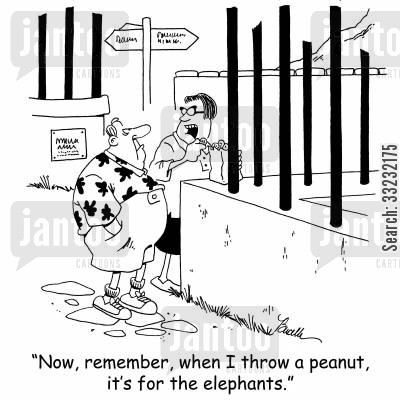 caged animals cartoon humor: 'Now, remember, when I throw a peanut, it's for the elephants.'