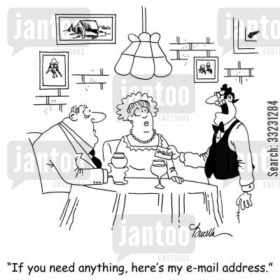 telecommunication cartoon humor: 'If you need anything, here's my e-mail address.'