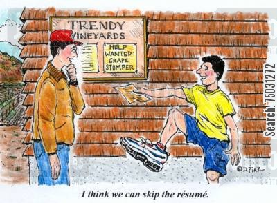 unions cartoon humor: 'I think we can skip the resume.'
