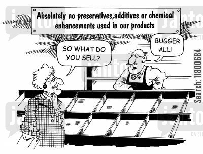 modern time cartoon humor: Absolutely No Chemicals, Preservatives or Additives