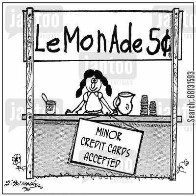 payment method cartoon humor: Minor credit cards accepted.