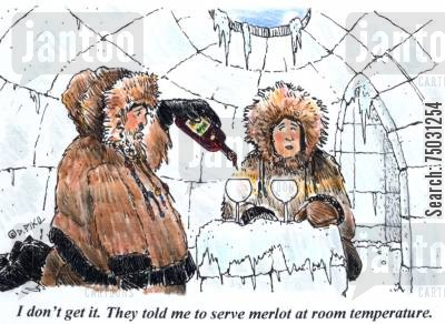 room temperature cartoon humor: 'I don't get it. They told me to serve merlot at room temperature.'