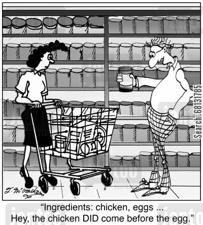 food processor cartoon humor: 'Ingredients: chicken, eggs ... Hey, the chicken DID come before the egg.'