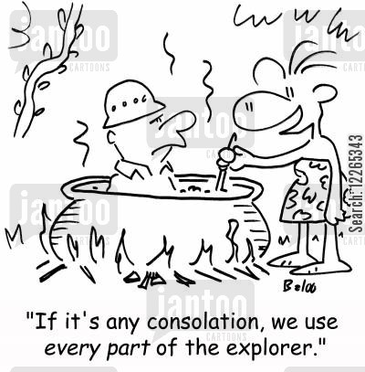 camp fires cartoon humor: 'If it's any consolation, we use EVERY PART of the explorer.'