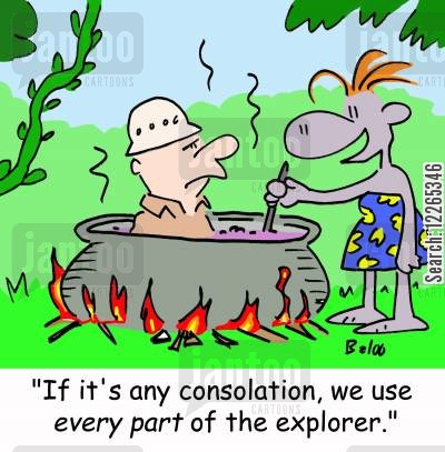 cooking pot cartoon humor: 'If it's any consolation, we use EVERY PART of the explorer.'