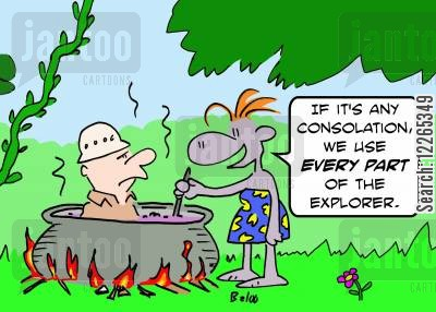 gourmet cook cartoon humor: 'If it's any consolation, we use EVERY PART of the explorer.'