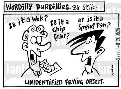 kitchen equipment cartoon humor: Wordilly Durdillies - Unidentified frying object