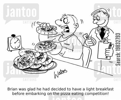 eating food cartoon humor: Brian was glad he had decided to have a light breakfast before embarking on the pizza eating competition!