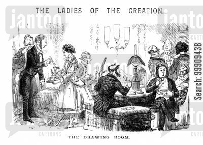 social events cartoon humor: Men Retiring to the Drawing Room.