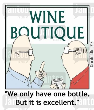 selection cartoon humor: Wine boutique with only one bottle.