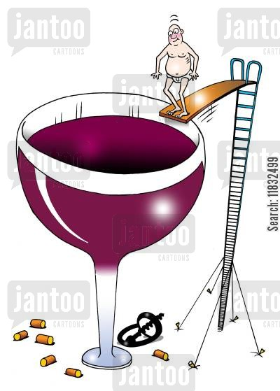 fine wine cartoon humor: Wine Dive.