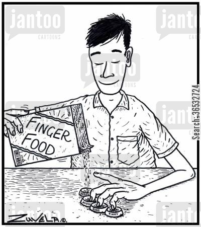 canape cartoon humor: Finger Food.