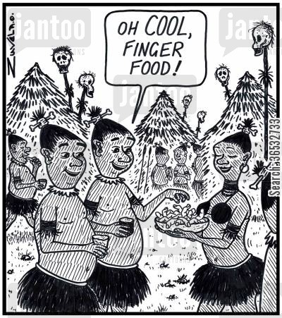 snack foods cartoon humor: Cannibal: 'Oh COOL, Finger food!'