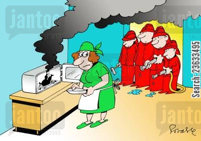 burnt foods cartoon humor: Firemen called to a cooking accident.