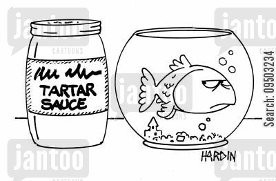 imminent cartoon humor: Tartar sauce.