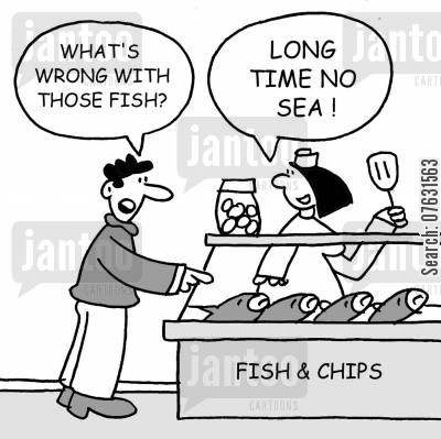 fried foods cartoon humor: What's wrong with those fish? Long time, no sea!