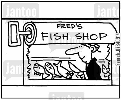 seafoods cartoon humor: 'Fred's Fish Shop.'